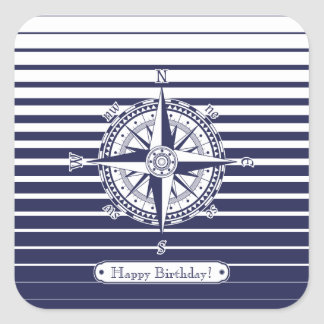 Compass Rose Blue Stripes Square Sticker