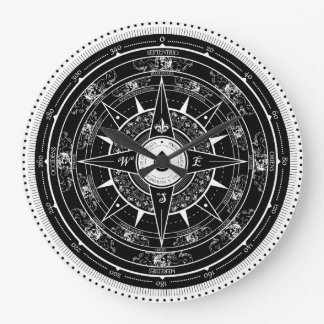 Compass Rose - Clock (Black)
