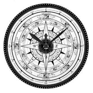 Compass Rose - Clock (White)