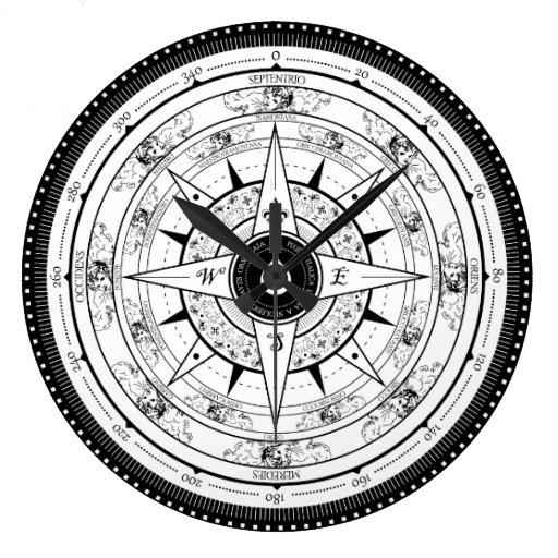 compass rose clock white zazzle