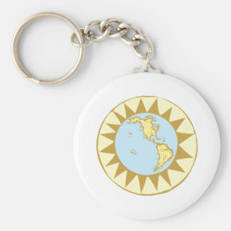 Compass Rose Earth # Keychain