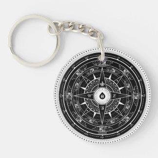 Compass Rose - Keychain (Black)