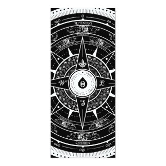 """Compass Rose - L. Rectangle Invite Card (Black) 4"""" X 9.25"""" Invitation Card"""