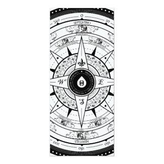 """Compass Rose - L. Rectangle Invite Card (White) 4"""" X 9.25"""" Invitation Card"""