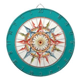 compass rose - mandala dartboard with darts