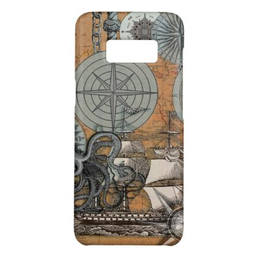 Beach Themed Compass Rose Nautical Art Print Ship Octopus Case-Mate Samsung Galaxy S8 Case