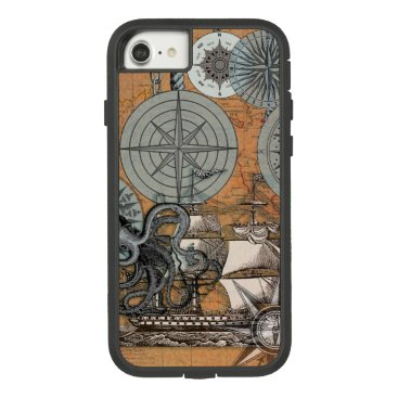 Beach Themed Compass Rose Nautical Art Print Ship Octopus Case-Mate Tough Extreme iPhone 7 Case