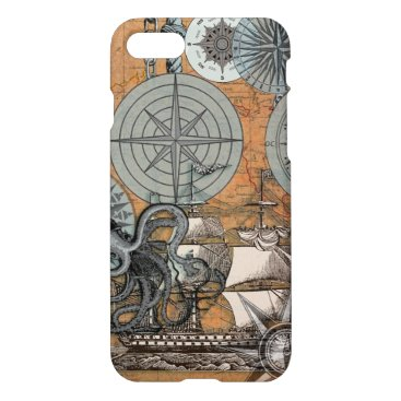Beach Themed Compass Rose Nautical Art Print Ship Octopus iPhone 8/7 Case