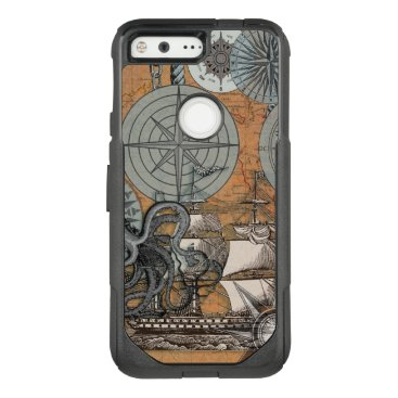 Beach Themed Compass Rose Nautical Art Print Ship Octopus OtterBox Commuter Google Pixel Case
