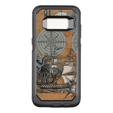 Beach Themed Compass Rose Nautical Art Print Ship Octopus OtterBox Commuter Samsung Galaxy S8 Case