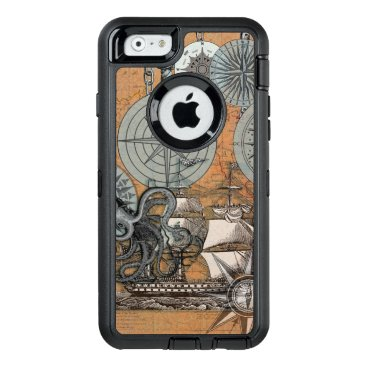 Beach Themed Compass Rose Nautical Art Print Ship Octopus OtterBox Defender iPhone Case