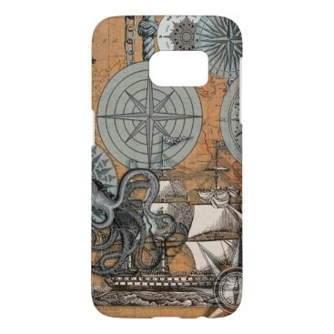 Beach Themed Compass Rose Nautical Art Print Ship Octopus Samsung Galaxy S7 Case