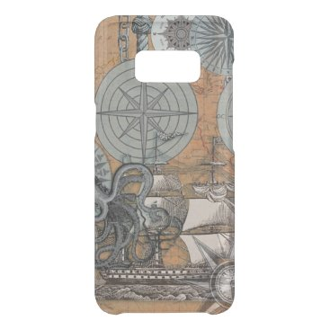 Beach Themed Compass Rose Nautical Art Print Ship Octopus Uncommon Samsung Galaxy S8 Case