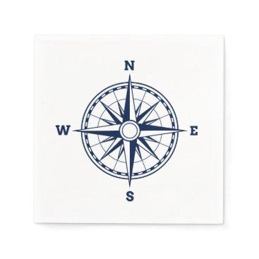 Beach Themed Compass Rose Nautical Style Napkin