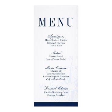 Beach Themed Compass Rose Nautical Wedding Dinner Menu Card
