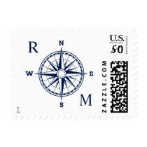 Compass Rose Nautical Wedding Monogram Postage