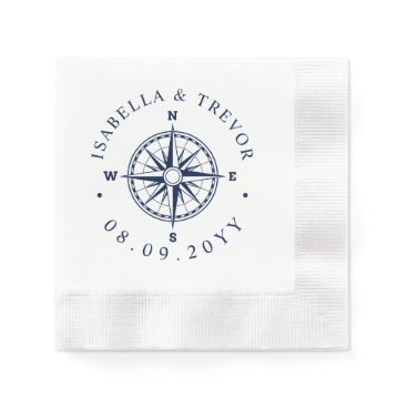 Beach Themed Compass Rose Nautical Wedding Paper Napkin