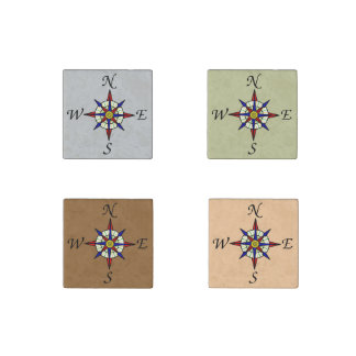 Compass Rose Neutral Stone Magnet