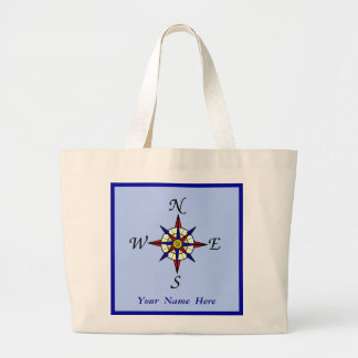Compass Rose Personalized Blue Large Tote Bag