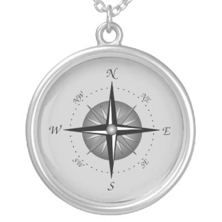 Compass Rose Round Pendant Necklace