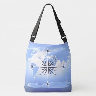 Compass Rose Sailing Ocean Blue Cross Body Bag