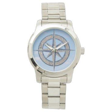 Beach Themed Compass Rose Sand Water Sky Wrist Watch