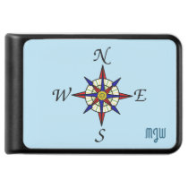 Compass Rose Sea Blue Monogrammed Power Bank