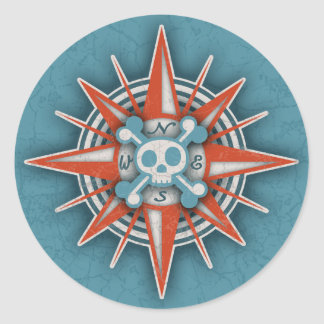 Compass Rose Skull III Classic Round Sticker