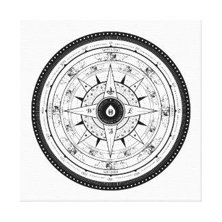 Compass Rose - Square Canvas (White) Canvas Print
