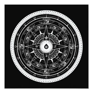 Compass Rose - Square Invitation Card (Black)