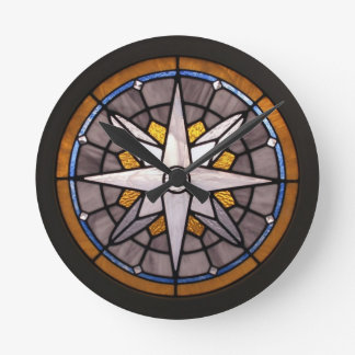 Compass Rose Stained Glass Clock