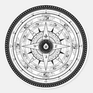 Compass Rose - Sticker (White)