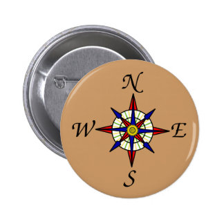 Compass Rose Tan 2 Inch Round Button