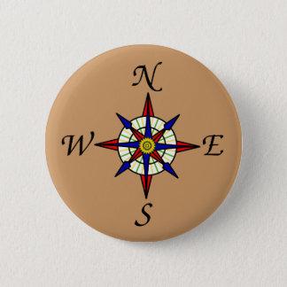 Compass Rose Tan Pinback Button
