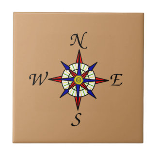 Compass Rose Tan Small Square Tile