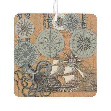 Beach Themed Compass Rose Vintage Nautical Art Print Graphic Car Air Freshener