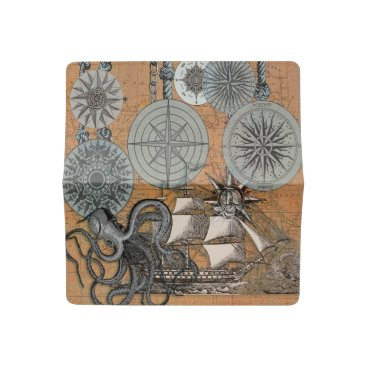 Beach Themed Compass Rose Vintage Nautical Art Print Graphic Checkbook Cover