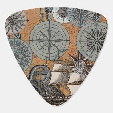 Beach Themed Compass Rose Vintage Nautical Art Print Graphic Guitar Pick