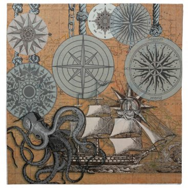 Beach Themed Compass Rose Vintage Nautical Art Print Graphic Napkin