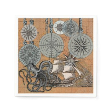 Beach Themed Compass Rose Vintage Nautical Art Print Graphic Paper Napkin