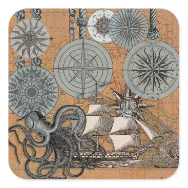 Beach Themed Compass Rose Vintage Nautical Art Print Graphic Square Sticker