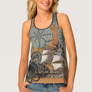 Beach Themed Compass Rose Vintage Nautical Art Print Graphic Tank Top