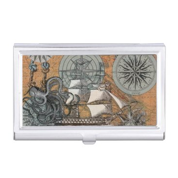 Beach Themed Compass Rose Vintage Nautical Octopus Ship Art Business Card Case