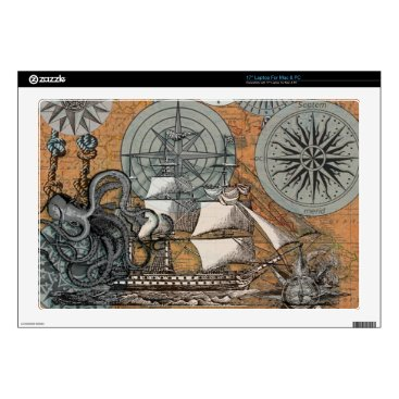 "Beach Themed Compass Rose Vintage Nautical Octopus Ship Art Decal For 17"" Laptop"