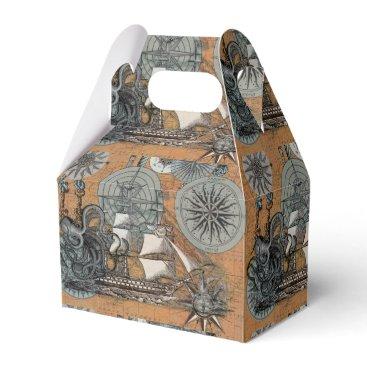 Beach Themed Compass Rose Vintage Nautical Octopus Ship Art Favor Box