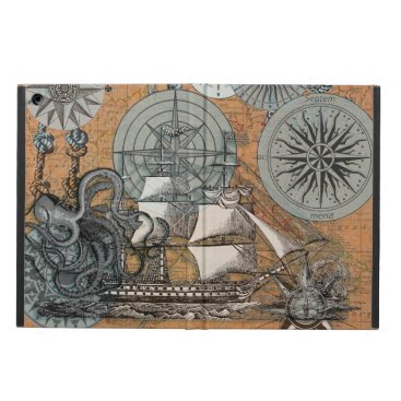 Beach Themed Compass Rose Vintage Nautical Octopus Ship Art iPad Air Cover