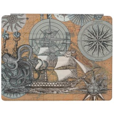 Beach Themed Compass Rose Vintage Nautical Octopus Ship Art iPad Smart Cover