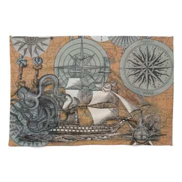Beach Themed Compass Rose Vintage Nautical Octopus Ship Art Kitchen Towel
