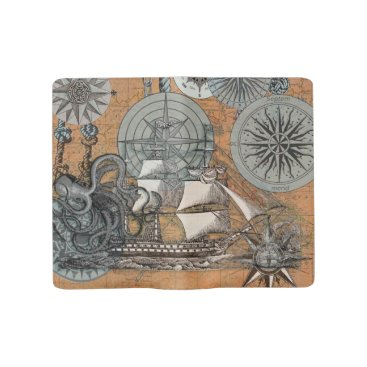 Beach Themed Compass Rose Vintage Nautical Octopus Ship Art Large Moleskine Notebook