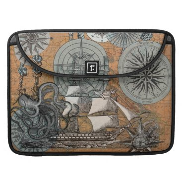 Beach Themed Compass Rose Vintage Nautical Octopus Ship Art MacBook Pro Sleeve